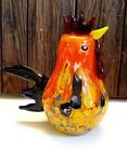 LARGE ROOSTER MULTI COLOR SMOOTH GLASS RAINBOW COLORS FIGURINE 10 TALL