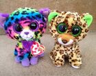 Ty Beanie Boo Leopards Speckles & Trixie, Justice Exclusive Blue Tag Retired