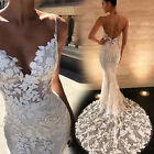 US Women Formal Wedding Lace V Neck Maxi Dress Bodycon Cocktail Prom Ball Gown