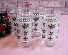 Vintage Christmas Drinking Glasses Tumblers Holly Berries Frosted Design (4)