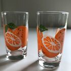 Set 2 AHC Vintage Anchor Hocking Orange Juice Glasses 3 1/2