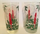 2 Christmas Glasses Red Candle Glow Holly Berries 5 1/2