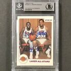 MAGIC JOHNSON & KAREEM ABDUL-JABBAR Signed 1984-85 STAR Lakers auto card BAS BGS