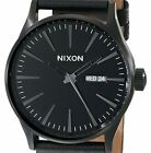 PRE-OWNED $150 Nixon Sentry Black Stainless Steel Leather Men's Watch A105001