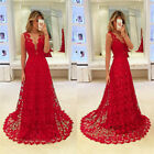 Women Bridesmaid Prom Ball Gown Lace Dress Formal V Neck Maxi Sexy Dresses New