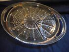 40's or 50's Very heavy 2 handled pressed glass Hostess tray or platter Lovely!