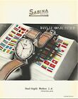vintage 1948 color print ad SABINA Swiss Suisse watch movement MID CENTURY ART