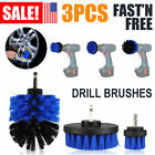 3pcs Car Electric Wash Brush Set Hard Bristle Drill Auto Detailing Cleaning Tool