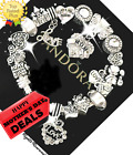 Authentic PANDORA Bracelet Silver White I LOVE YOU MOM with European Charms