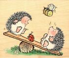 Hedgehog Ladybug Bee Play Join Wood Mounted Rubber Stamp PENNY BLACK 2880K New
