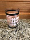 Vintage 1950s MCM Hazel Atlas 5 oz Juice Glass - Pink Diamond Black Band Design