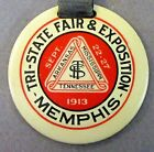 1913 TRI-STATE FAIR & EXPOSITION Memphis Tennessee  celluloid fob & strap ^