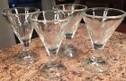 Set Of 4 Vintage Stem Glasses Flower Design Thick Glass Ice Cream Barware Nice