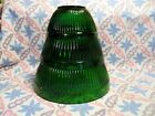 Vintage Set of Fire King Forest Green Ribbed Mixing Bowls in Excellent Condition