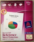 Qty 10 Avery 74102 Heavyweight Sheet Page Protectors Non glare 3 ring 85x11