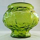 Vintage EO Brody Green Vase Planter Dimpled Textured Crinkle Glass