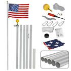 16FT Sectional Flag Pole Flagpole Halyard Pole 3x5 US Flag and Ball Top Kit