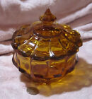 Vintage Amber Gold Indiana Glass Candy Dish With Lid Collectable Round Low Foot