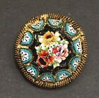 Antique MICRO MOSAIC Petite Art Glass Brooch Pin Rose ITALY Floral