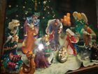 11 Pc Kirklands 12 Large Nativity Set Handpainted High Glaze 14 K Gold Accent