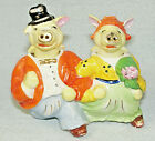 Vintage Salt  Pepper Shakers Gold Trimmed Strolling Pig Nodders