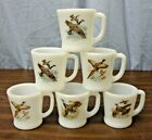 Vintage Fire King Game Birds Coffee Mugs Cups Set of 6