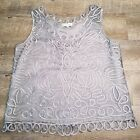 Vtg XL women Soulmates 100 silk crocheted tank cami gray handcrafted sleeveless