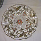 ~~ VINTAGE ~~ RUFFLED GOLD TRIMMED HANDPAINTED APPLE AND LEAVES GLASS PLATTER