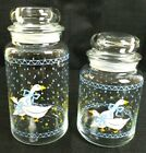 Anchor Hocking Farm Country Geese canisters Goose Glass Jars Storage Blue White