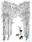 Deer In the Trees Forest Cling Unmounted Rubber Stamp Set IndigoBlu Stamps NEW