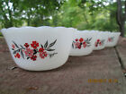 Vintage FIRE KING Primrose 1-1/2 Qt. Casserole Inverted Logo and 4 Custard Bowls