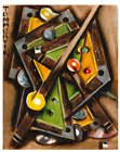 Billiards Wall Decor Cubist Abstract Pool Table Art For Sale By Artist Tommervik