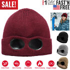 Men Women Unisex Beanie Winter Hat with Goggle Ski Slouchy Chic Knitted Cap