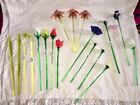 Lot NEW ROYAL GALLERY Italy BLOWN GLASS LONG STEM ROSE FLOWERS BUTTERFLY RL
