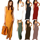 Women Maxi Dress U Neck Sleeveless Long Solid Ladies Summer Casual Sundress US