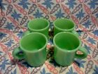 Jadeite Green Glass Restaurant Style Coffee Mugs x 4 in Excellent Condition