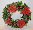 VINTAGE PLASTIC CHRISTMAS WREATH POINSETTIA PINECONE 16 INCH DIAMETER