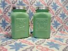 Jadeite Green Glass Square Salt and Pepper Shakers in Excellent Condition