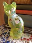 Fenton Art Glass 5 in Cat Iridescent Yellow colors Hand painted Artist sign EX