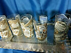 very rare Mid Century Culver Gold WHITE french wine labels Glasses Set of 5