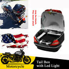 US Shipping Motorcycle Trunk Tail Storage Box With LED Turn Signal Tail Light