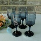 Vintage Libbey Facets Stemmed Glasses Wine Juice (4) Cobalt Blue Textured