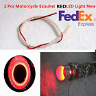 US Shipping 1PC Motorcycle Exhaust Pipe Modified Red LED Light Heat-resistant