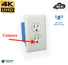 4K WIFI Wireless Hidden Spy AC Wall Outlet Plug Covert Camera DVR Audio 128GB