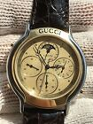 GUCCI 8300 MOONPHASE CHRONOGRAPH QUARTZ S.S  &GOLD MENS 38mm SWISS MADE