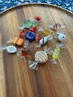 12 Pieces of Murano Colorful Art Glass Wrapped Candy All Different