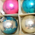 Christmas Ornament Glass Ball Box Vintage MIRO STAR Blue Silver Pink 2 Lot 12