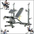 WORKOUT BENCH W SQUAT RACK Olympic Home Gym Weight Training Equipment Adjustable