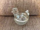 Anchor Hocking Clear Glass Chicken On Nest Trinket/Candy/Powder Dish