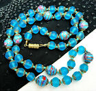 Antique Vtg Venetian Murano Wedding Cake Frosted Blue Glass Beaded Necklace 24